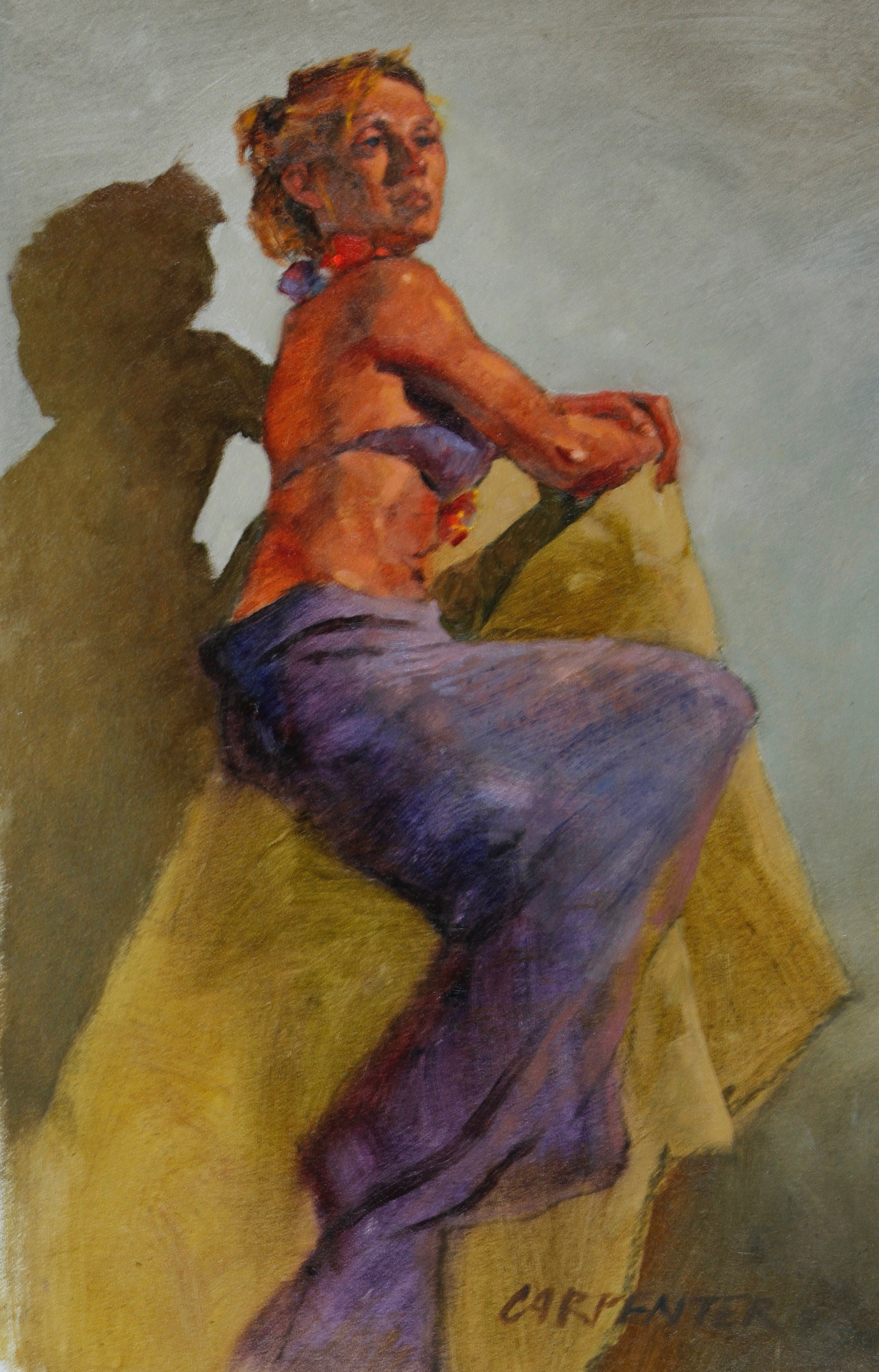 Clothed Female Figure Study Oil Painting On Gessoed Paper