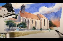 French Chapelle Watercolor in 8 Minutes