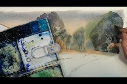 Watercolor Snowscape In 7 Minutes