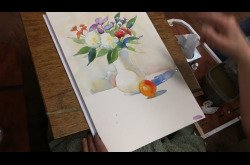 Painting-Watercolor-Still Life with Flowers and Fruit