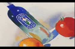 Painting-Watercolor-Still Life with Bottle and Fruit