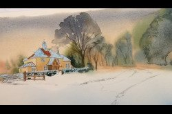 Painting - Watercolor - Winter Landscape -Concept to Completion-Part 1