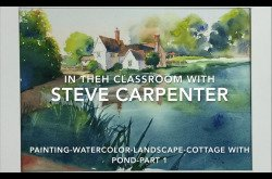 Painting-Watercolor-Landscape-Cottage With Pond - Part 1