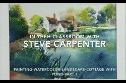 Painting-Watercolor-Landscape-Cottage With Pond - Part 1