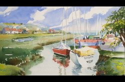 Painting-Watercolor-Landscape with Sailboats-Part 1