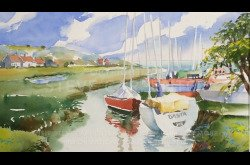 Painting-Watercolor-Landscape with Sailboats-Part 2
