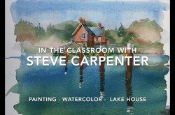 Watercolor Water Landscape Painting Instruction - Lake House